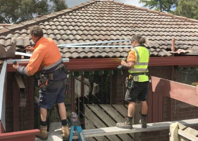 Guttering installation trimming with installers